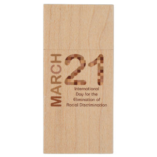 International day for elimination of racism wood USB 2.0 flash drive