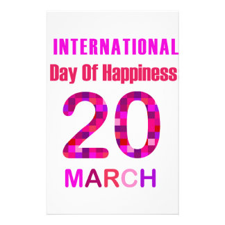 International Day of Happiness- Commemorative Day Custom Stationery
