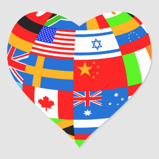 international flags globe earth heart sticker