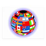 international flags globe earth postcard