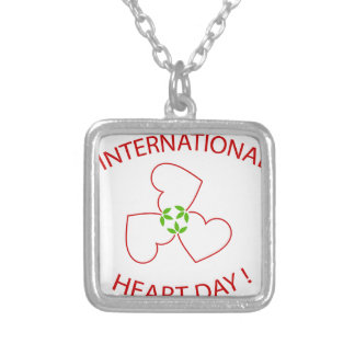 International Heart Day Silver Plated Necklace