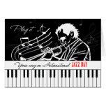 International Jazz Day Piano Keys and Musician Greeting Card