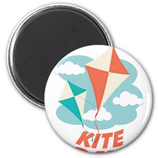 International Kite Day - Appreciation Day 6 Cm Round Magnet