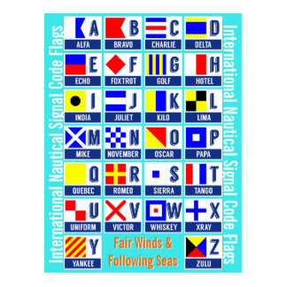 International Nautical Signal Code Flags Postcard