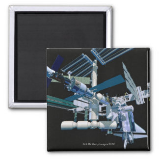 International Space Station 3 Square Magnet