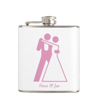 International Symbol for Bride and Groom Hip Flask