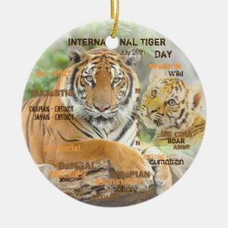 International Tiger Day, July 29, Typography Art Ceramic Ornament