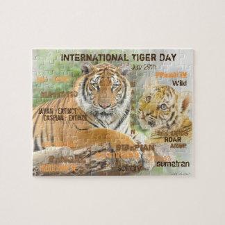 International Tiger Day, July 29, Typography Art Jigsaw Puzzle