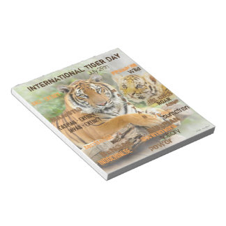 International Tiger Day, July 29, Typography Art Notepad