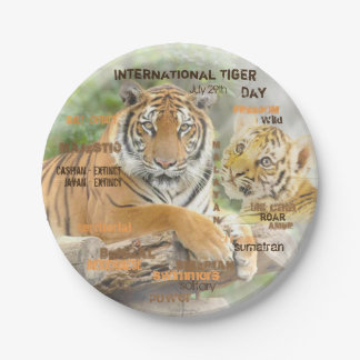 International Tiger Day, July 29, Typography Art Paper Plate