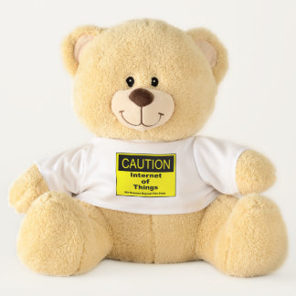 Internet of Things IoT Caution Warning Sign Teddy Bear
