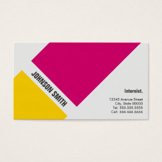 Internist - Simple Pink Yellow Business Card