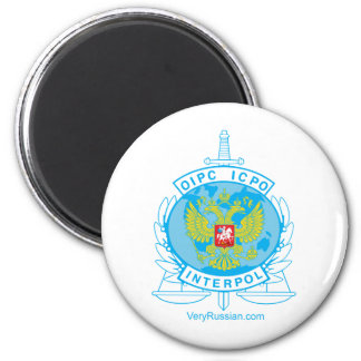 interpol russia badge 6 cm round magnet