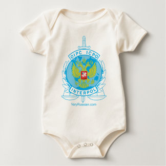 interpol russia badge baby bodysuit
