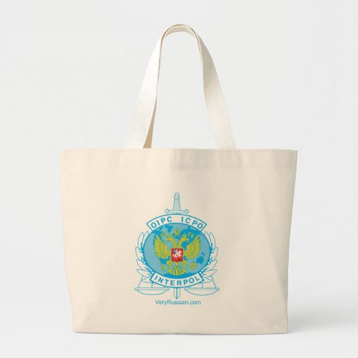 interpol russia badge tote bag
