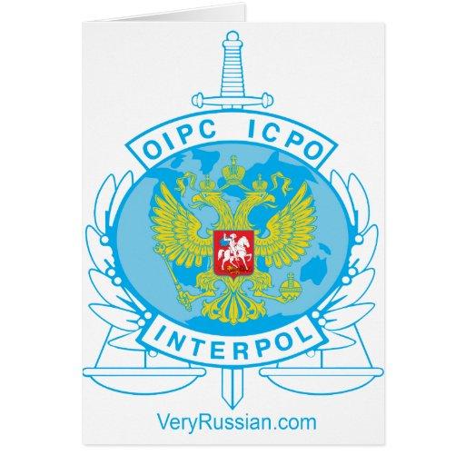 interpol russia badge greeting card