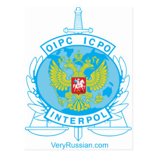 interpol russia badge post card