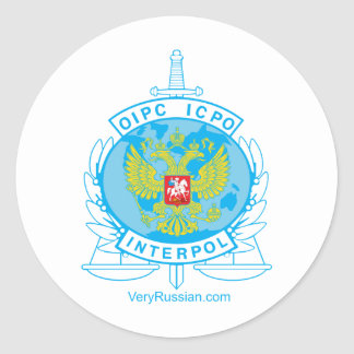 interpol russia badge round sticker