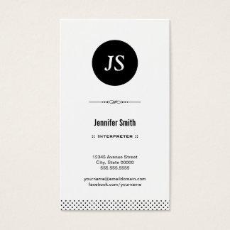 Interpreter - Clean Black White Business Card