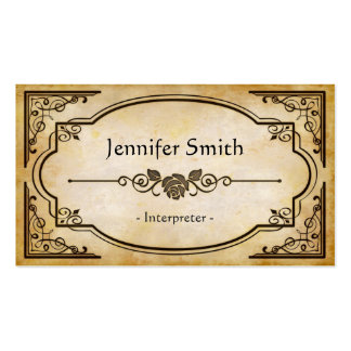 Interpreter - Elegant Vintage Antique Pack Of Standard Business Cards