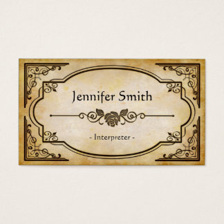 Interpreter - Elegant Vintage Antique Business Card