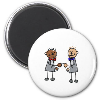 Interracial Gay Couple 6 Cm Round Magnet