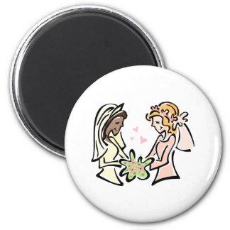 Interracial Lesbian Wedding 6 Cm Round Magnet