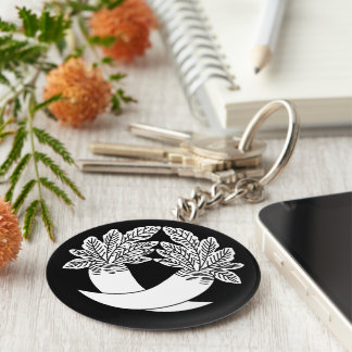Intersecting radish basic round button key ring
