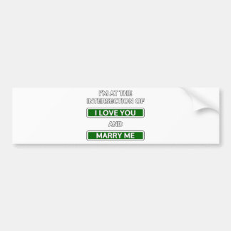 """Intersection of """"I love you"""" and """"Marry me"""" Bumper Sticker"""