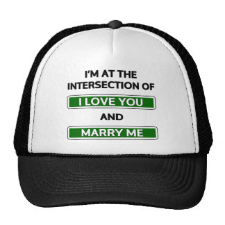 "Intersection of ""I love you"" and ""Marry me"" Trucker Hat"