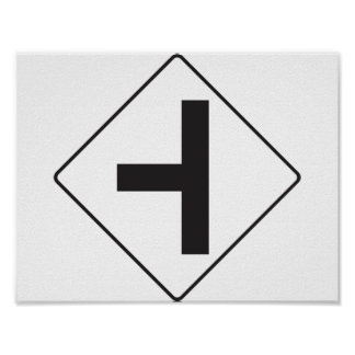 Intersection Road Sign Poster