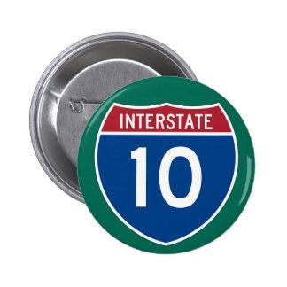 Interstate 10 (I-10) Highway Sign 6 Cm Round Badge