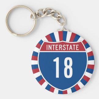 Interstate 18 basic round button key ring