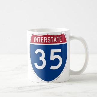 Interstate 35 Highway Sign Basic White Mug