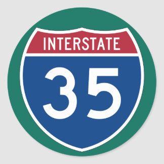 Interstate 35 (I-35) Highway Sign (pack of 6/20) Classic Round Sticker