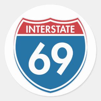 Interstate 69 classic round sticker