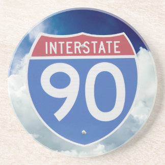 Interstate 90 Shield against Blue Sky with Clouds Coaster