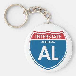 Interstate Alabama AL Basic Round Button Key Ring