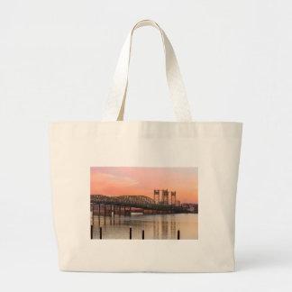 Interstate Bridge Over Columbia River at Sunset Large Tote Bag
