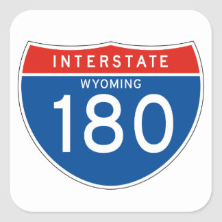 Interstate Sign 180 - Wyoming Square Stickers