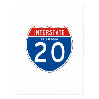 Interstate Sign 20 - Alabama Postcards