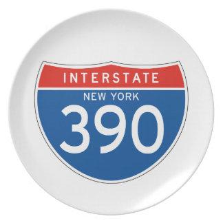 Interstate Sign 390 - New York Plates