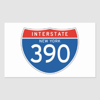 Interstate Sign 390 - New York Rectangle Stickers