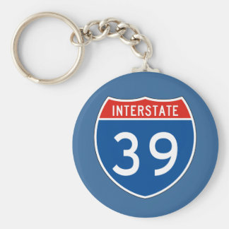 Interstate Sign 39 Basic Round Button Key Ring