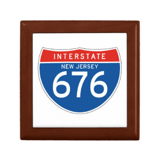 Interstate Sign 676 - New Jersey Trinket Boxes