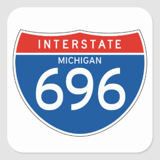 Interstate Sign 696 - Michigan Square Sticker