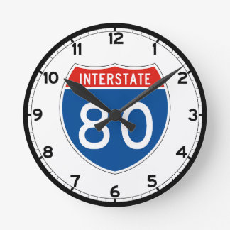 Interstate Sign 80 - Ohio Round Clock