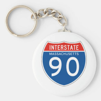 Interstate Sign 90 - Massachusetts Key Ring