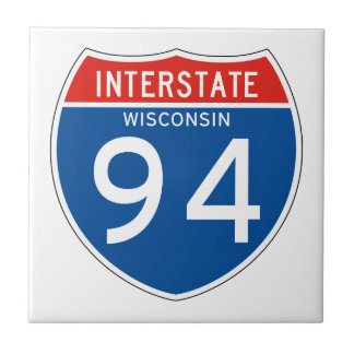 Interstate Sign 94 - Wisconsin Small Square Tile