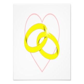 Intertwined Wedding Rings & Heart Art Photo